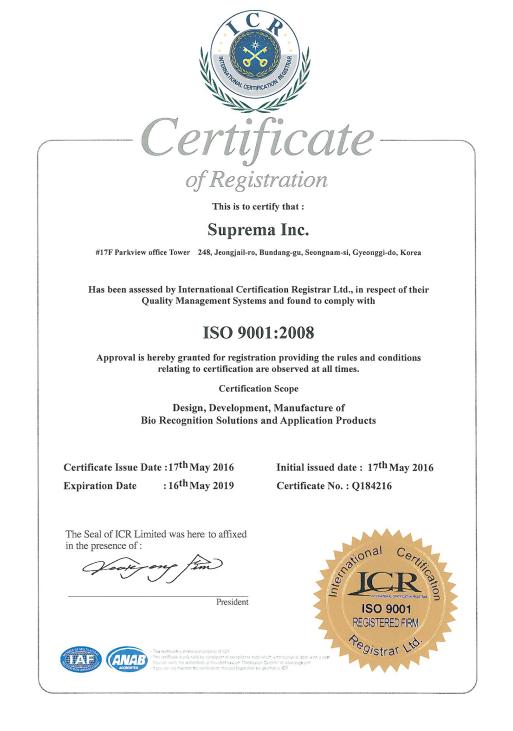 Suprema Authorized Distributor Certificate Pt Yu Sung